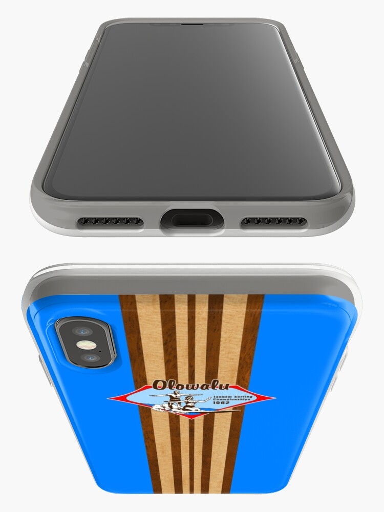 Alternate view of Tandem Surfing Hawaiian Vintage Surf Design  - Ocean Blue iPhone Cases & Covers
