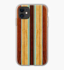 Nalu Hou Faux Koa Wood Hawaiian Surfboard - Aqua iPhone Case
