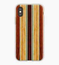 Nalu Hou Faux Koa Wood Hawaiian Surfboard - Aqua iPhone Case