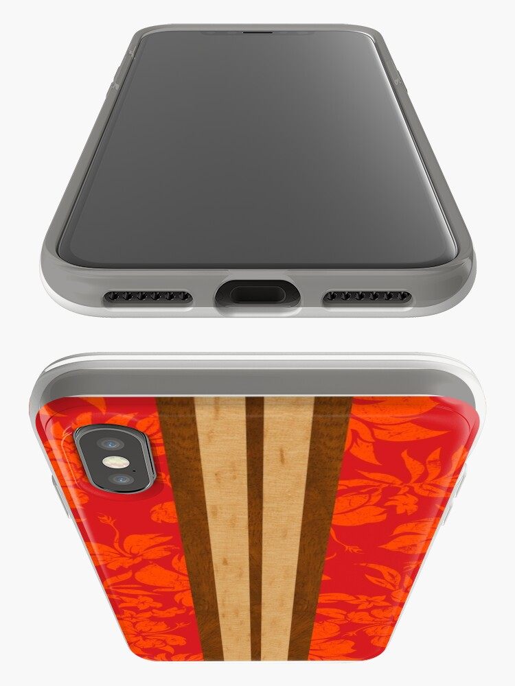 Alternate view of Sunset Beach Hawaiian Faux Koa Wood Surfboard - Red iPhone Cases & Covers