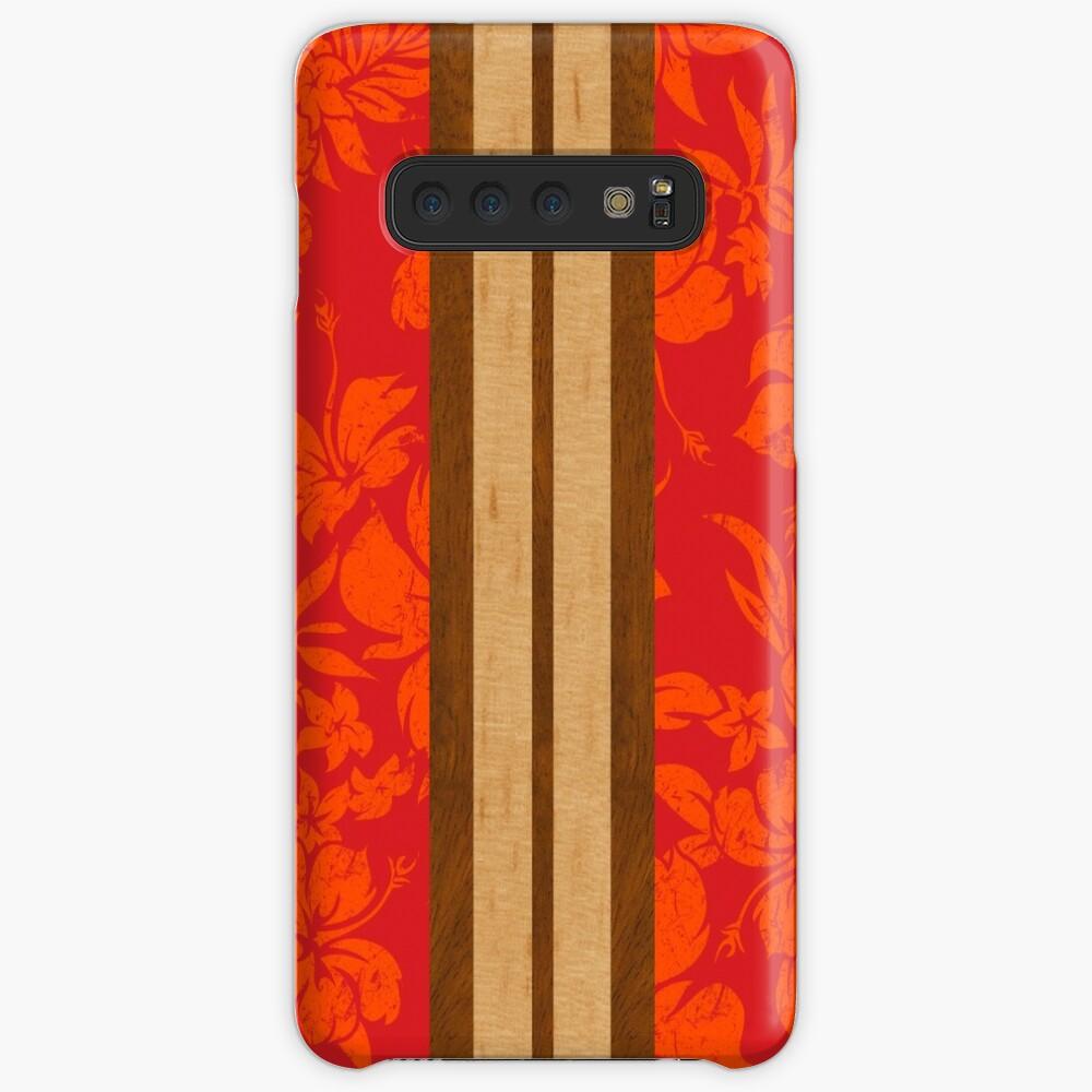 Tabla de surf Hawaii Beach Faux Koa de Sunset Beach - Rojo Funda y vinilo para Samsung Galaxy
