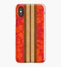 Sunset Beach Hawaiian Faux Koa Wood Surfboard - Red iPhone Case/Skin