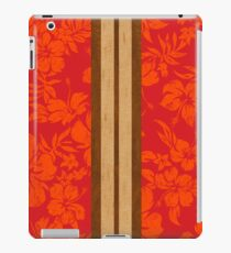 Sunset Beach Hawaiian Faux Koa Wood Surfboard - Red iPad Case/Skin