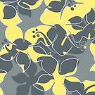 Hanalei Hawaiian Floral Camo Aloha Shirt Print - Gray and Yellow by DriveIndustries