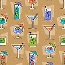 Happy Hour Retro Hawaiian Tropical Drinks - Khaki by DriveIndustries