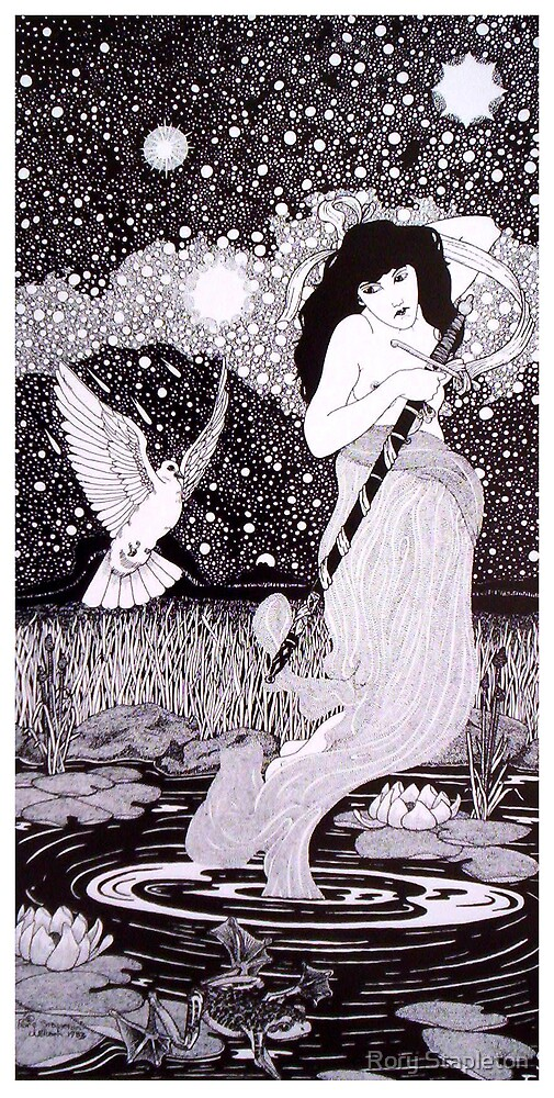 The Lady of The Lake   (Pen & ink on Bainebridge c/press illust brd) by Rory Stapleton