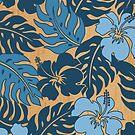 Huakini Bay Hawaiian Hibiscus Vintage Floral - Denim Blues by DriveIndustries