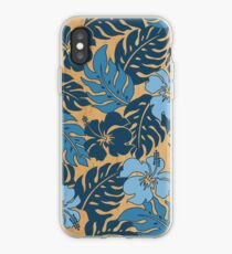 Huakini Bay Hawaiian Hibiscus Vintage Floral - Denim Blues iPhone Case