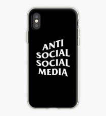 Anti Social Social Media (White Text) iPhone Case