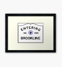 Entering Brookline Massachusetts - Commonwealth of Massachusetts road sign Framed Print