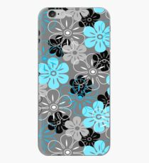 Flower Rain Hawaiian Retro Floral - Gray, Turquoise and Black iPhone Case