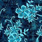 Waimanalo Hawaiian Hibiscus Batik - Teal by DriveIndustries