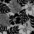 Huakini Bay Hawaiian Hibiscus Vintage Floral - Gray by DriveIndustries