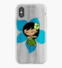 Aloha Honeys Hawaiian Hibiscus Hula Girl - Turquoise iPhone Case