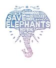 Save Elephants - word cloud silhouette watercolor by jitterfly
