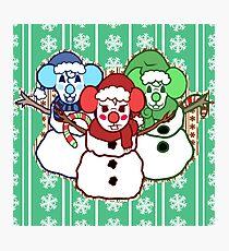 Snowman siblings Photographic Print