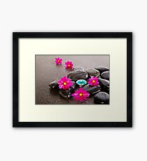 Calm With Cosmos And Candle Framed Print