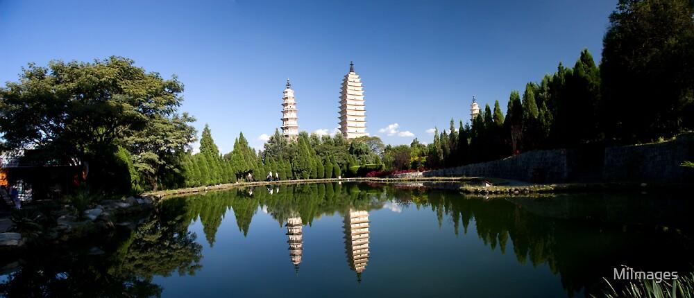 Three Pagodas Chongshen Monastery Dali Yunan Province China Panorama by MiImages
