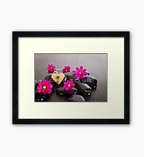 Heart In Pink Cosmos Framed Print