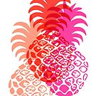 Momona Hawaiian Tropical Pineapple - Red, Pink & Coral by DriveIndustries