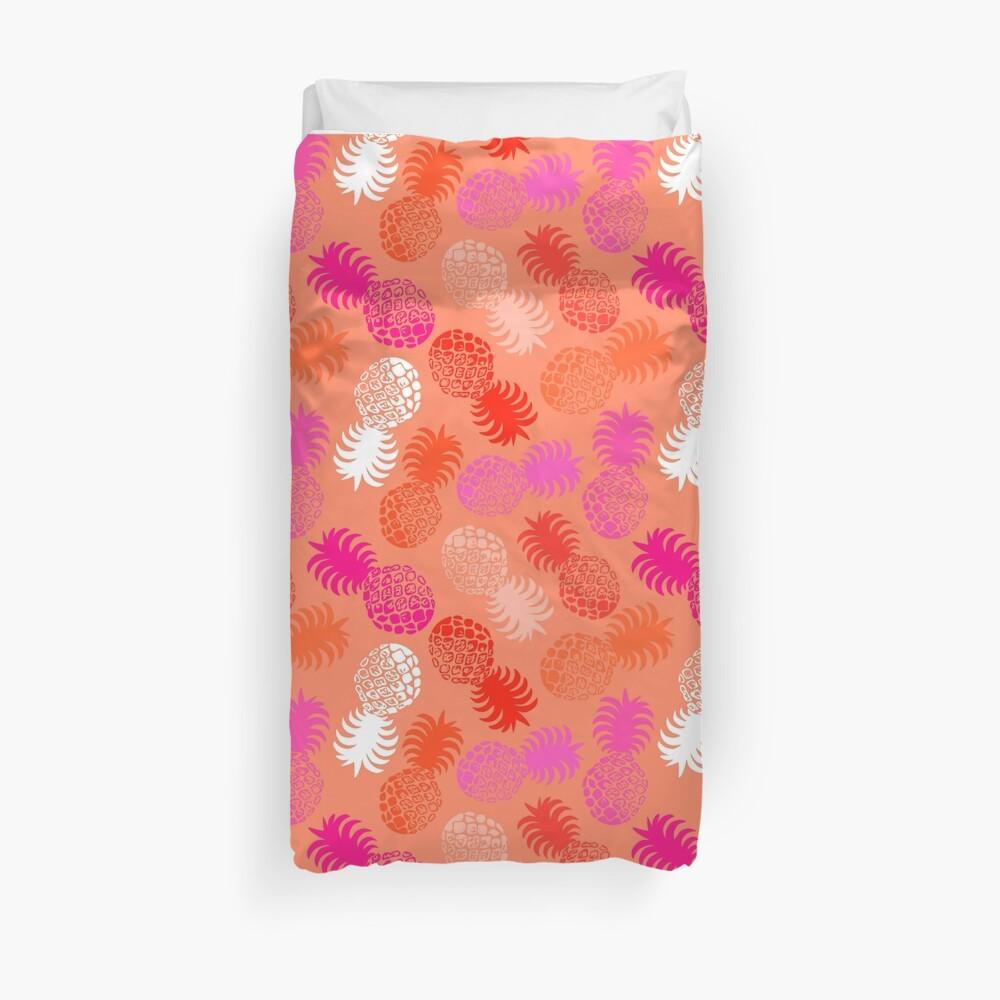 Momona Hawaiian Tropical Pineapple - Red, Pink & Coral Duvet Cover