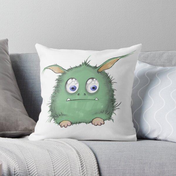 Cute Green Creature Throw Pillow