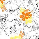 Midnight Garden Hibiscus Hawaiian Pen and Ink Illustration - Orange & Yellow by DriveIndustries