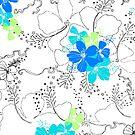 Midnight Garden Hibiscus Hawaiian Pen and Ink Illustration - Turq & Blue by DriveIndustries
