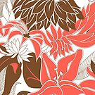 Contour Hawaii Tropical Lily and Protea Floral - Coral and Cocoa Brown by DriveIndustries