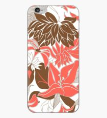 Contour Hawaii Tropical Lily and Protea Floral - Coral and Cocoa Brown iPhone Case