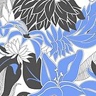 Contour Hawaii Tropical Lily and Protea Floral - Periwinkle and Charcoal Gray by DriveIndustries
