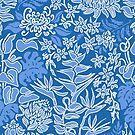 Kauai Morning Hawaiian Protea Floral - Indigo by DriveIndustries