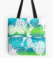 Makua Monstera Tropical Hawaiian Striped Blend - Turq Tote Bag