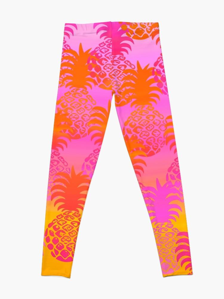 Alternate view of Pukana Hawaiian Pineapple Sunset Blend - Pink & Orange Leggings