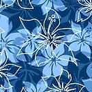 Olowalu Hibiscus Hawaiian Camo Aloha Shirt Print - Indigo by DriveIndustries
