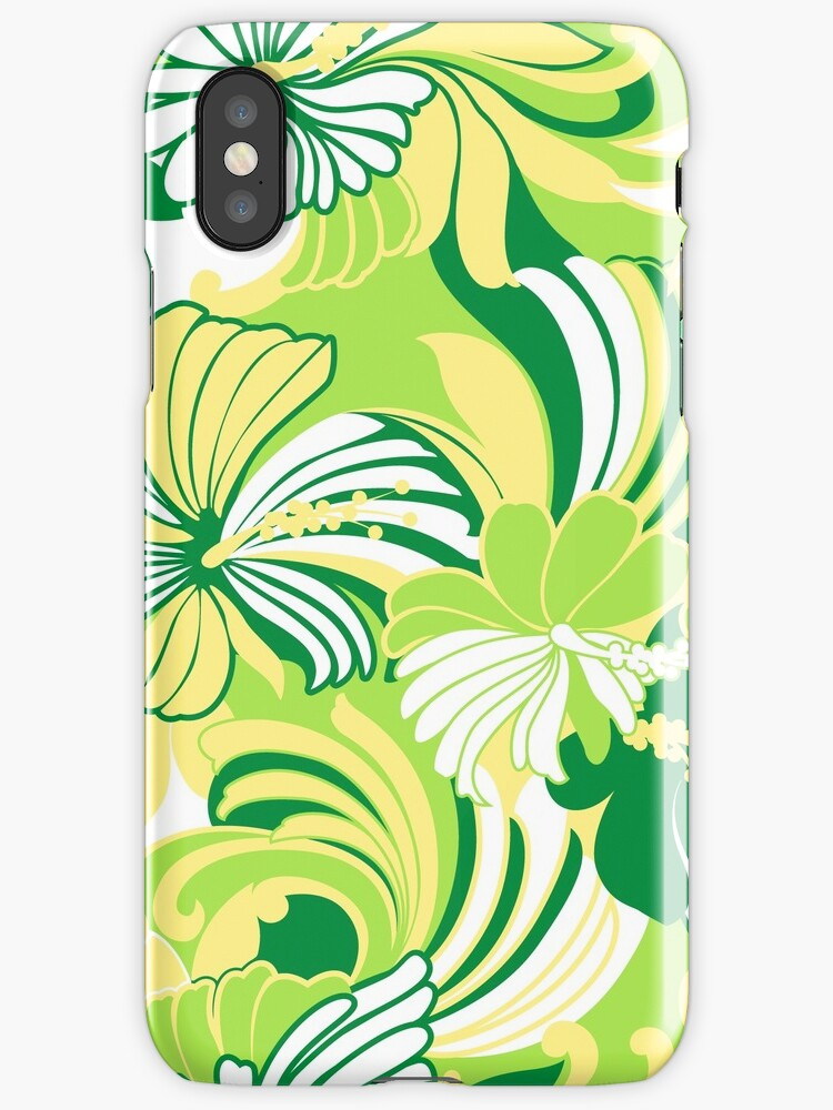 Hibiscus Jungle Hawaiian Tropical Floral - Leaf green, Lemon and Lime by DriveIndustries