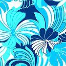 Hibiscus Jungle Hawaiian Tropical Floral - Navy, Turq & Aqua by DriveIndustries