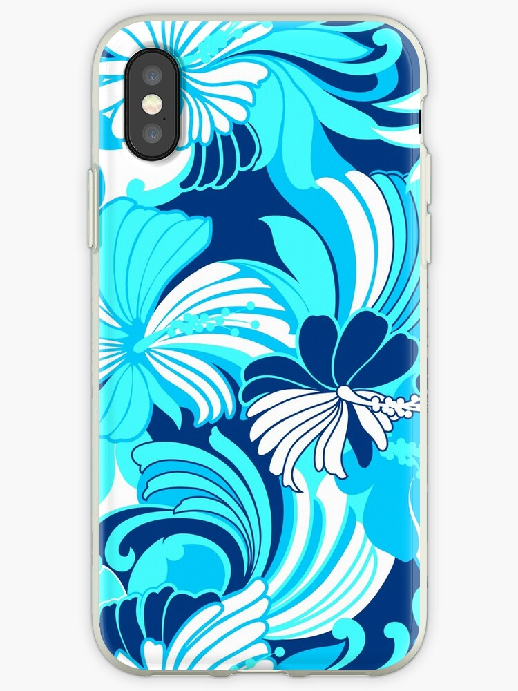 Hibiscus Jungle Hawaiian Tropical Floral - Navy, Turq & Aqua by DriveIndustries
