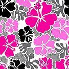 Akahai Hawaiian Hibiscus Tropical Floral - Pink & Black by DriveIndustries