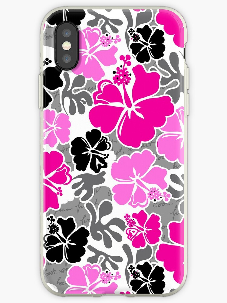 Akahai Hawaiian Hibiscus Tropical Floral - Pink & Black by DriveIndustries