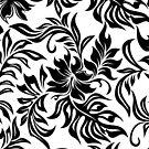 Waikiki Hibiscus Hawaiian Pareau Floral - Black & White by DriveIndustries
