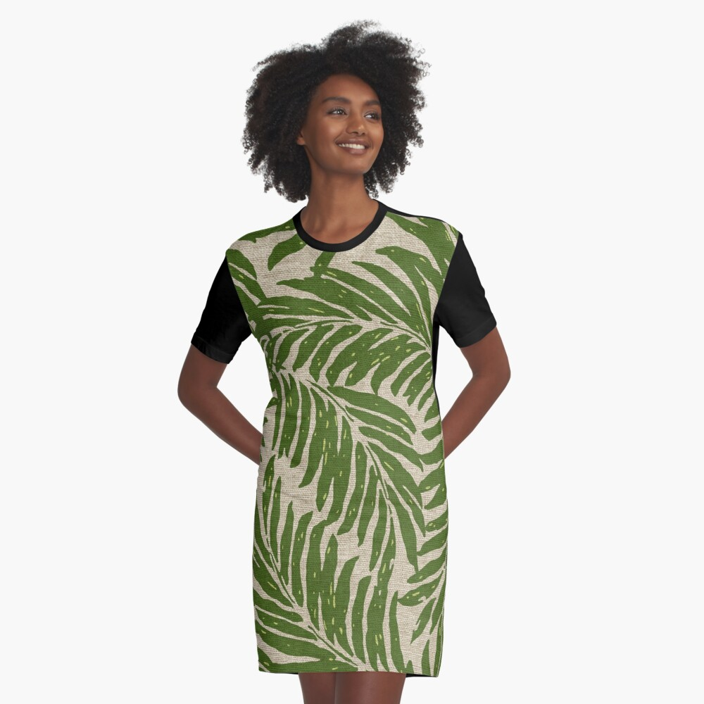 36cf5cf7d40 Kahanu Palms Hawaiian Linen Texture - Olive Green Graphic T-Shirt Dress