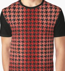 HOUNDSTOOTH1 BLACK MARBLE & RED BRUSHED METAL Graphic T-Shirt