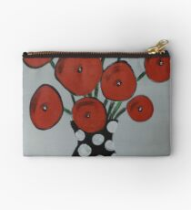 Abstract Poppies in a Black Vase Zipper Pouch