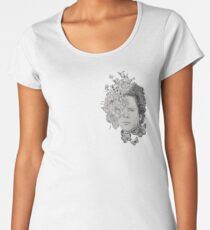 Art Classic Folk Rock Singer Musician Face Portrait with Vintage Floral Flowers Women's Premium T-Shirt