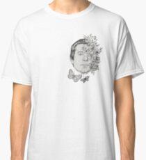 Simon Classic Folk Rock Singer Musician Face Portrait with Vintage Floral Flowers Classic T-Shirt