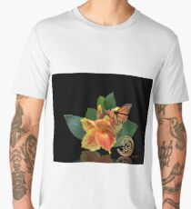 Canna Lily and Monarch Butterfly on black Men's Premium T-Shirt