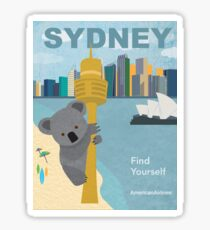Vintage Travel Poster - Sydney by American Airlines Sticker