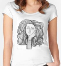 FRANCOISE 1946 : Vintage Abstract Charcoal Print Women's Fitted Scoop T-Shirt