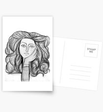 FRANCOISE 1946 : Vintage Abstract Charcoal Print Postcards